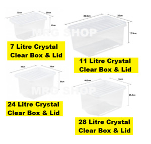 New 2021 British Made Clear Plastic Storage Boxes With Lids Office Stackable DIY