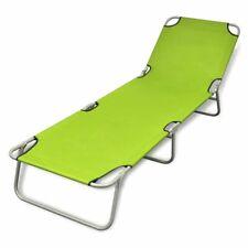 Outdoor Folding Recliner Sun Bed Lounge Pool Beach Chair Sunbake Green Adjust