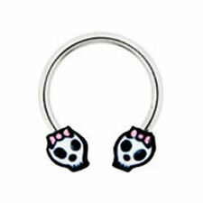 Sugar Skull Nipple Ring Pink Bow 14g Day of the Dead Stainless Steel 14g