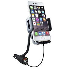 Dual USB Car Charger Phone Mount Holder with Voltage Detector For iPhone Galaxy