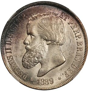 1889 Brazil 2000 Reis Silver Coin - NGC MS 63 - KM# 485