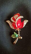 Rhinestone Brooch. Red Flower, Clear