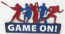 Game On Football Baseball Soccer Golf Embossed Die Cut Metal Sign High School