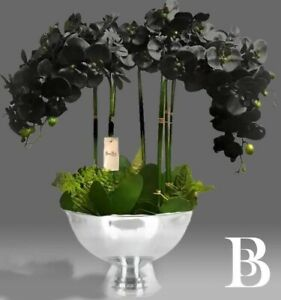 LARGE Luxury BLACK Orchid Flower Arrangement Artificial Plant silver urn Pot
