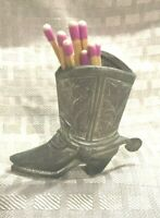 Vtg. Made in Japan Metal Cowboy Boot Match/Toothpick Holder.