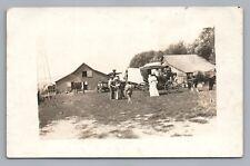 """Koreleski's Corner"" Barn w Buggy and Early Car RPPC Antique Farm Photo 1910s"