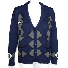ALPACA PERU Fabulous Inca Aztec Design Blue Gray Cardigan Sweater Women's M 5168