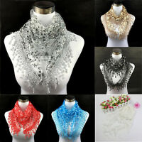 Fashion Lace Tassel Floral Pretty Long Soft Scarf Wrap Shawl Stole Scarves Hot
