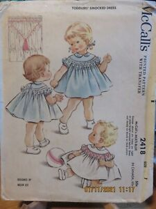 VINTAGE 60's McCALLS TODDLERS SMOCKED DRESS  PATTERN - 2418 - 1