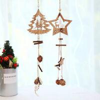 1PC Wooden Christmas Ornaments Wood Star Pendants Pine Cone Drop Decor nuovo HQ