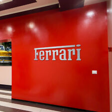 Ferrari Sign Garage Letters Brushed Silver Aluminum Gift logo 4 feet wide