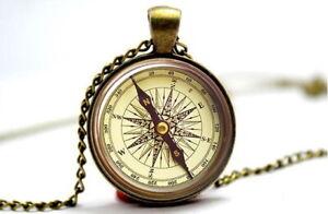 Compass - Vintage Antique Bronze Tone Photo Glass Dome Necklace Pendant