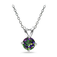 Sterling Silver Green Mystic Topaz Round Solitaire Necklace, 6mm