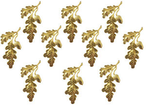 10 pcs Gold Tone Metal Oak Leaf Stampings Leaves & Acorn Jewelry Charms Accents