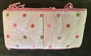 Pottery Barn Kids PBK White Polka Dot Cotton Crib Bumper Pink Blue Green Orange