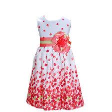NUEVO niña Cereza Vestido de fiesta en Naranja Rosa Fucsia Amarillo Azul 5 6 7 8