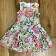 TU Girls Age 3 98 cm Summer Party Dress Floral Silver Metallic Pink Green A line