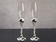 Damask Black White Flutes Toasting Glasses Toasting Flutes Wedding Toast