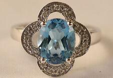 Oval Blue Topaz Clover Ring w Diamonds 14K White Gold size 7 wholesale price!!!