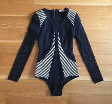 Sass & Bide Black Lace & Pinstripe Bodysuit Leotard Top Sz 38 US 2