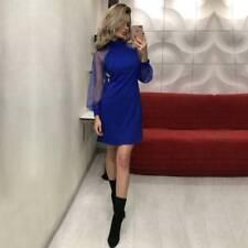 DE Damen Rollkragen Abendkleid Ballkleid Langarm Minikleid Partykleid Clubwear