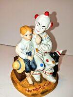 "Vintage Porcelain Norman Rockwell ""The Runaway"" Clown, Boy ,Dog Figurine 6"" Tall"