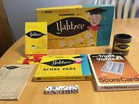 Vintage 1956 Family Game Yahtzee No. 950 Lowe Co. Inc. with Extra Score Sheets