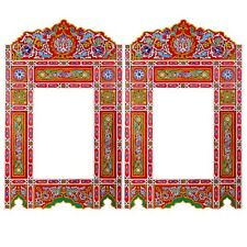 Set of 2 Painted Red hanging mirror frame, Moroccan Vintage farmhouse decor