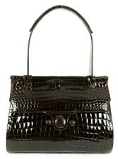SALVATORE FERRAGAMO $8,500 Espresso Brown Crocodile Skin Top Handle Bag