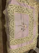 Stunning Victorian Lavender Silk Embroidered And Lace Doily. Tabletopper. Sham