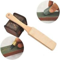 Wooden Handle Leather Sharpening Strop Cutter Polishing Board For Razors KI