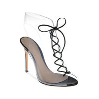 Occident New Women's Peep Toes Lace Up Transparent High Heels Sandals Shoes Free