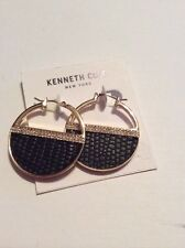 $35 Kenneth Cole New York Pavé & Faux-Leather Hoop Earrings 38F