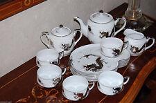 Vintage White Platinum Dragon YAMATO Morimura China Snack Set Teapot Cups Plates