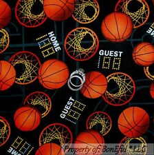 BonEful Fabric FQ Cotton Quilt Yellow Orange L Basketball Black White Dot Calico