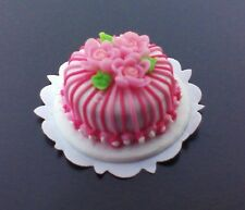 Dollhouse Miniature  Pink Stripe Cake with Roses by Bright deLights 1;12 scale