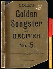 RARE! C1900 COLE'S 240 Funniest Songs GOLDEN SONGSTER No 5 LYRICS 111 pages