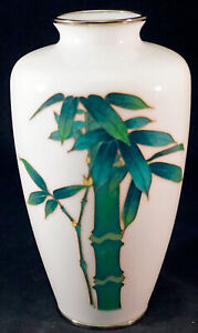 Japanese Cloisonne Vase Lovely Solid White Ground with Well Detailed Bamboo