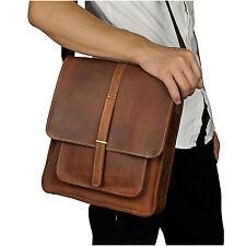Men's Genuine Leather Cowhide Vintage Brown Satchel Shoulder Messenger Bags