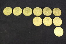 Lot Of 10 Presidental TOKENS From Shell Gas Stations, 1992