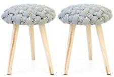 Pack 2 taburetes Braid color gris asiento pata madera dormitorio juvenil 46x36cm
