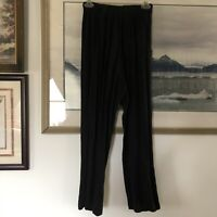 CP Shades Linen Blend Black Crop Pull On Pants Pockets Sz M Lagenlook A673