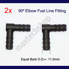 """2Pcs 3/8"""" 10mm 90-Degree Elbow Nylon Fuel Line Fitting Hose Barb Connector"""