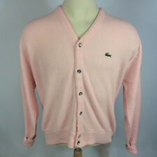 Vintage 80s Lacoste Pink Acrylic Knit Cardigan Sweater Jacket L Prep Golf Tennis