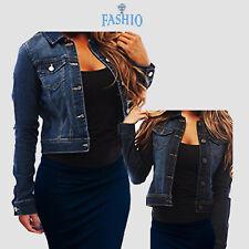 Women's Full Long Sleeve Denim Jacket Basic Cropped Button Coat Jean Soft Vest