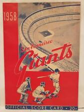 1958 SAN FRANCISCO GIANTS vs Cincinnati Redlegs Official Score Card Used