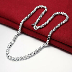 Charms 925 sterling Silver Necklaces 5MM round box chain for Men's woman Jewelry