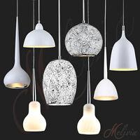 Lámpara Colgante Blanco Crema Cristal Plata gris de techo péndulo,