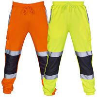 HI VIS VIZ JOGGERS SLIM FIT TROUSERS SAFETY WORKWEAR JOGGING BOTTOMS SWEAT PANTS