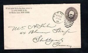 1886 Fancy Cancel New York, N.Y., Apr. 28th, Sc #U222 to Stuttgart, Germany